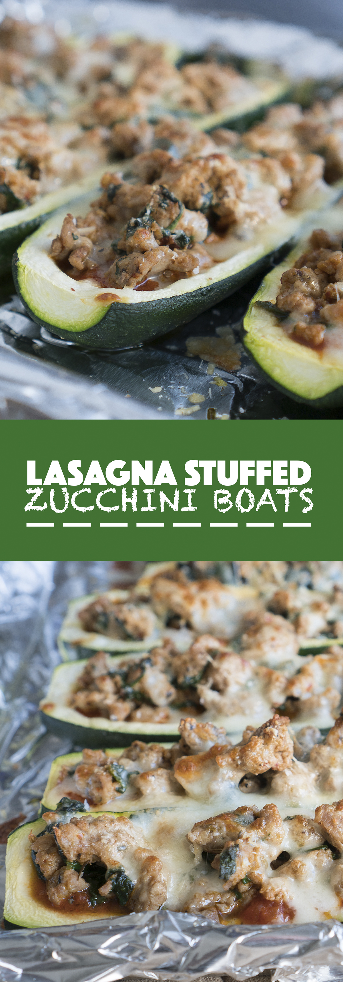 Lasagna Stuffed Zucchini Boats – Healthy, gluten-free recipe for Lasagna Stuffed Zucchini Boats! Using zucchini, tomato-basil sauce, chopped spinach, mozzarella cheese, parmesan, and ground turkey flavored to taste like crumbled Italian sausage. Low carb, low fat, & protein-packed ♥ | freeyourfork.com