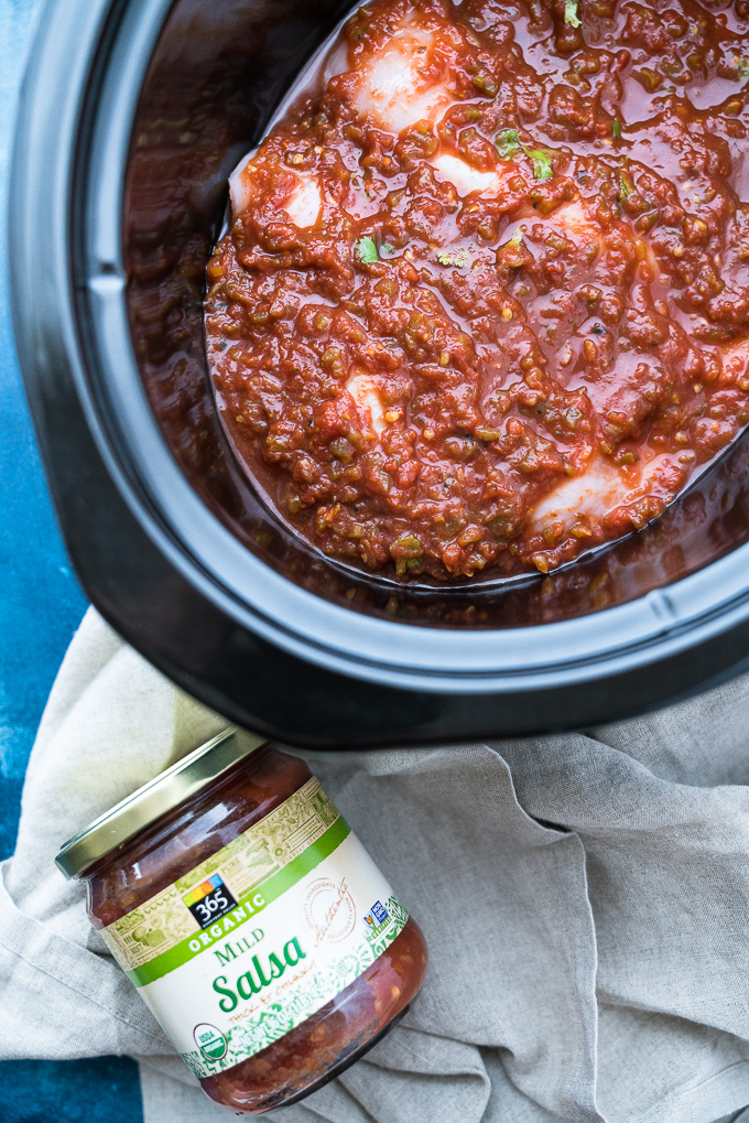 Crockpot Salsa Chciken – Healthy + meal-prep friendly recipe for Crockpot Salsa Chicken! This 2-ingredient shredded chicken is perfect for using in enchiladas, tacos, burrito bowls, soups, casseroles, and more! ♥ | freeyourfork.com