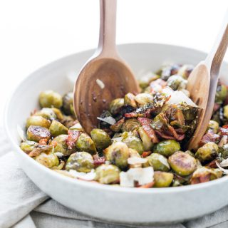 Roasted Brussels Sprouts with Bacon + Parmesan
