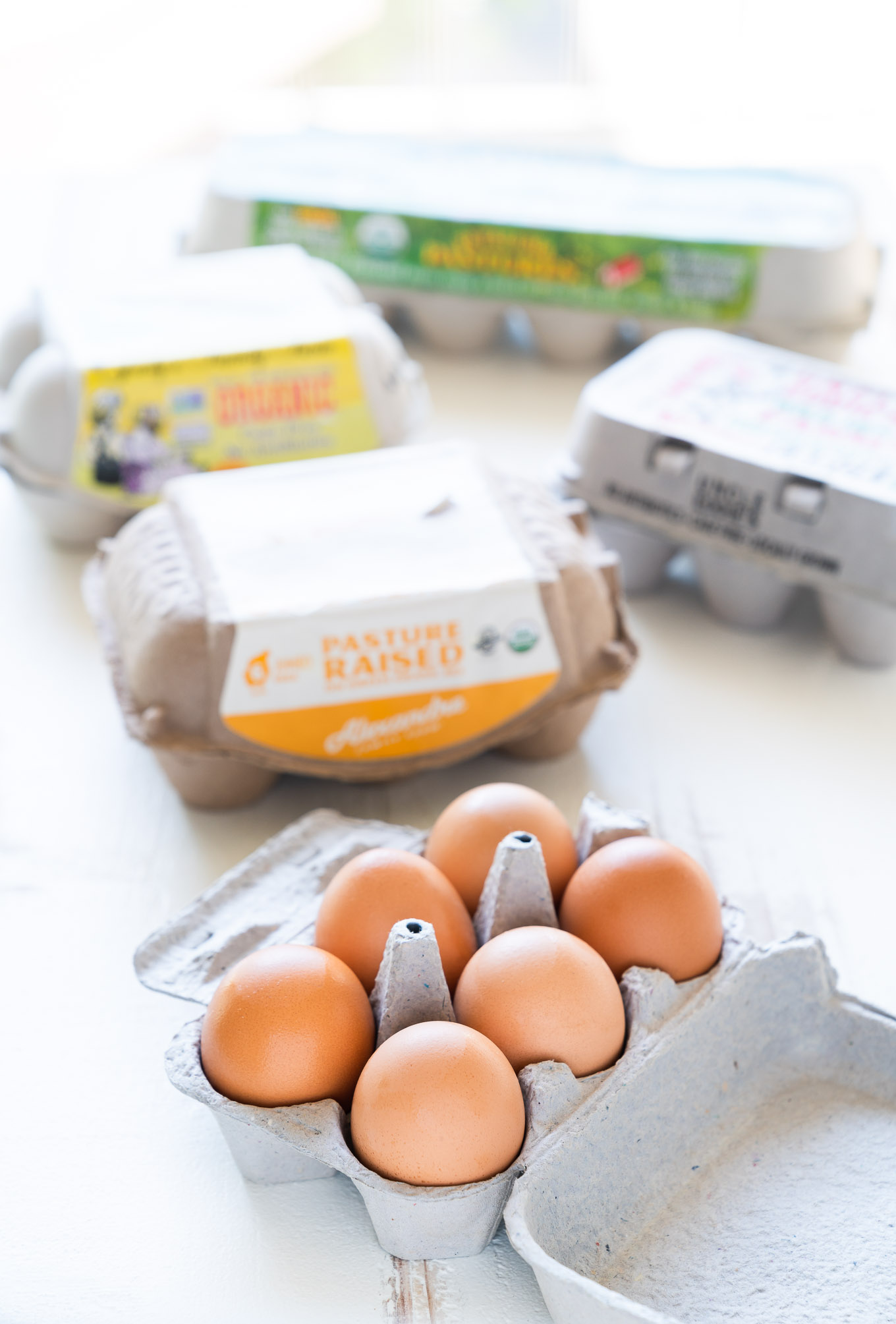 Cage-free Free-range Pasture-raised eggs - five cartons with eggs