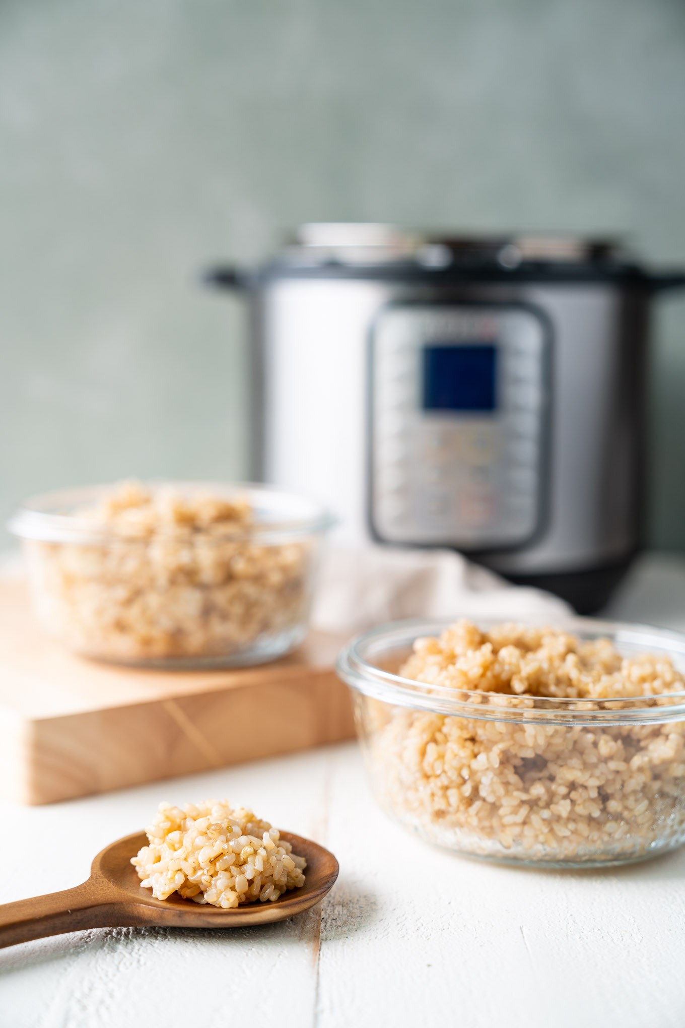 Instant Pot Brown Rice in Meal Prep Containers