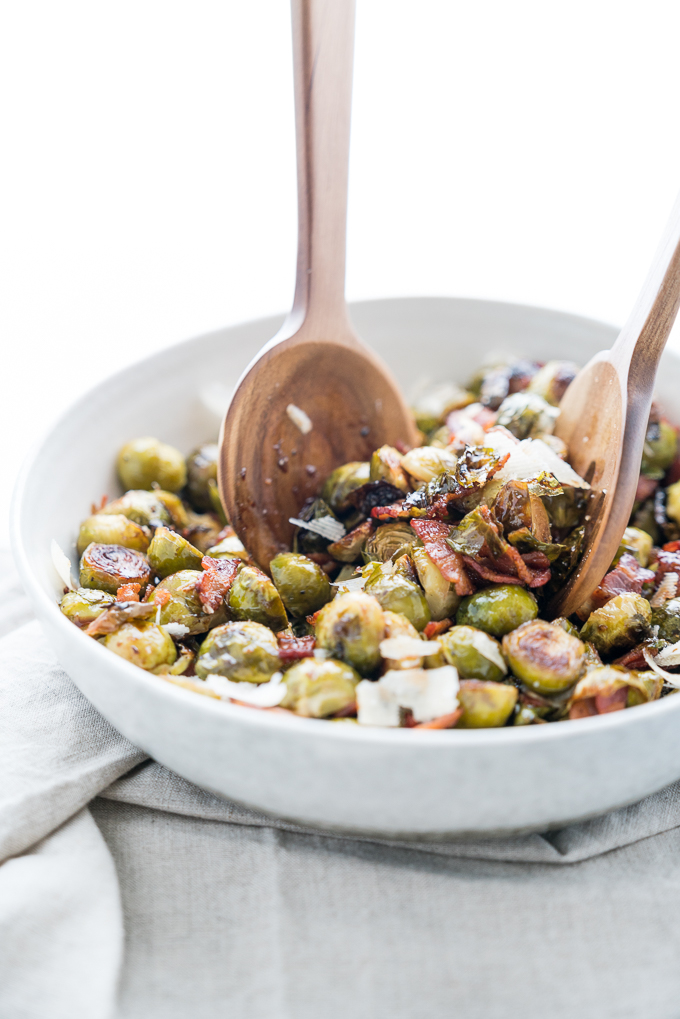 Easy recipe for Roasted Brussels Sprouts with Bacon + Parmesan! The perfect gluten free, vegetable side dish for your holiday table ♥ | freeyourfork.com