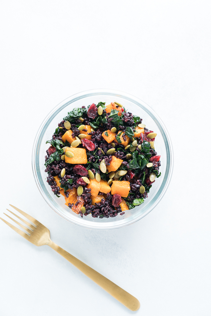 Black Rice and Butternut Squash Bowls - Meal prep friendly recipe for Black Rice and Butternut Squash Bowls! With dried cranberries, pumpkin seeds, kale & creamy cashew dressing. Healthy / Vegan / GF ♥ | freeyourfork.com