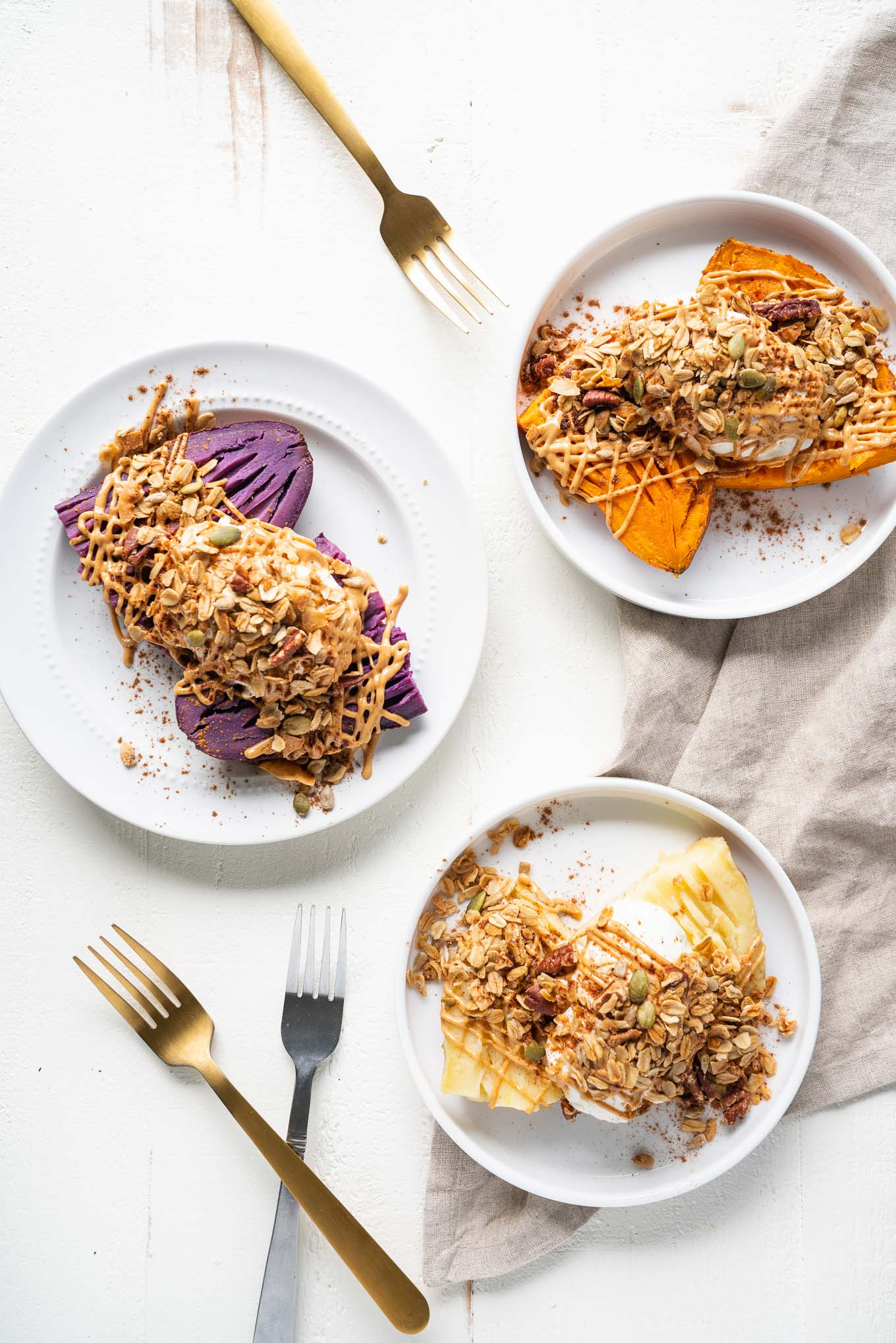Dessert Stuffed Sweet Potatoes Three Plates with Forks