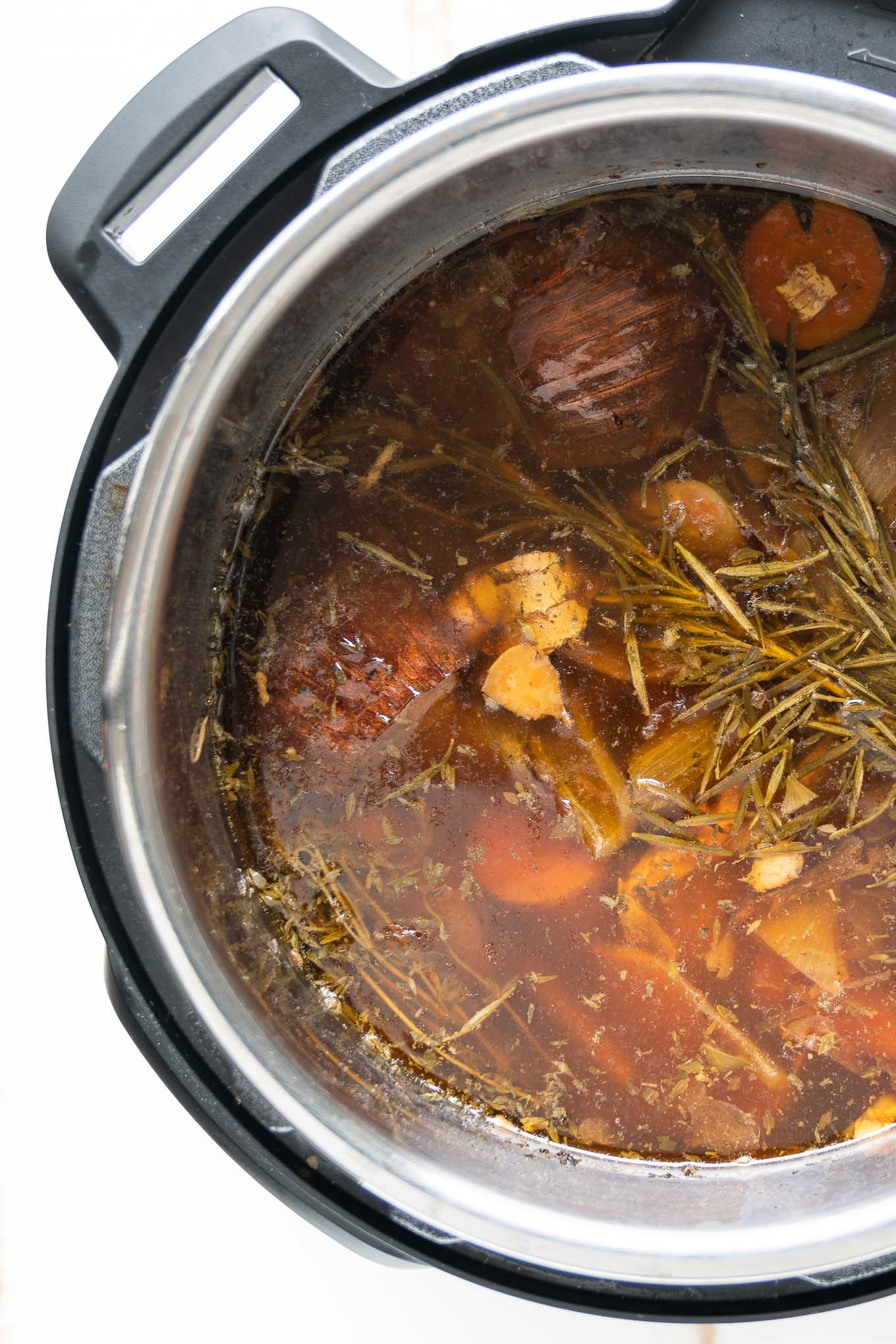 Instant Pot Bone Broth Shown After Simmering