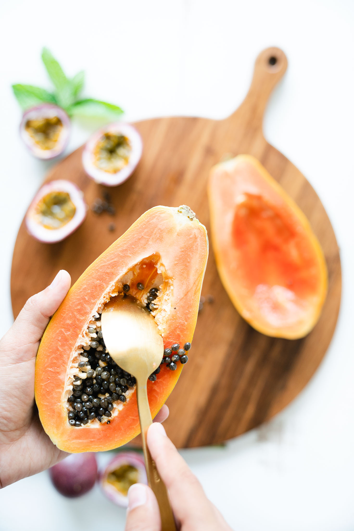 Tropical Papaya Boats - how to scrape out seeds with a spoon