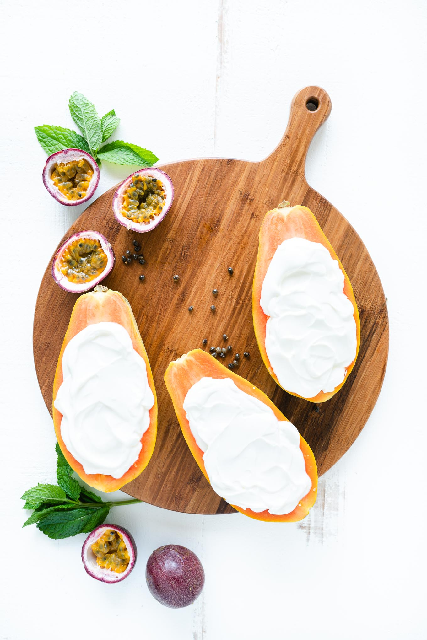 Tropical Papaya Boats - shown filled with Greek Yogurt