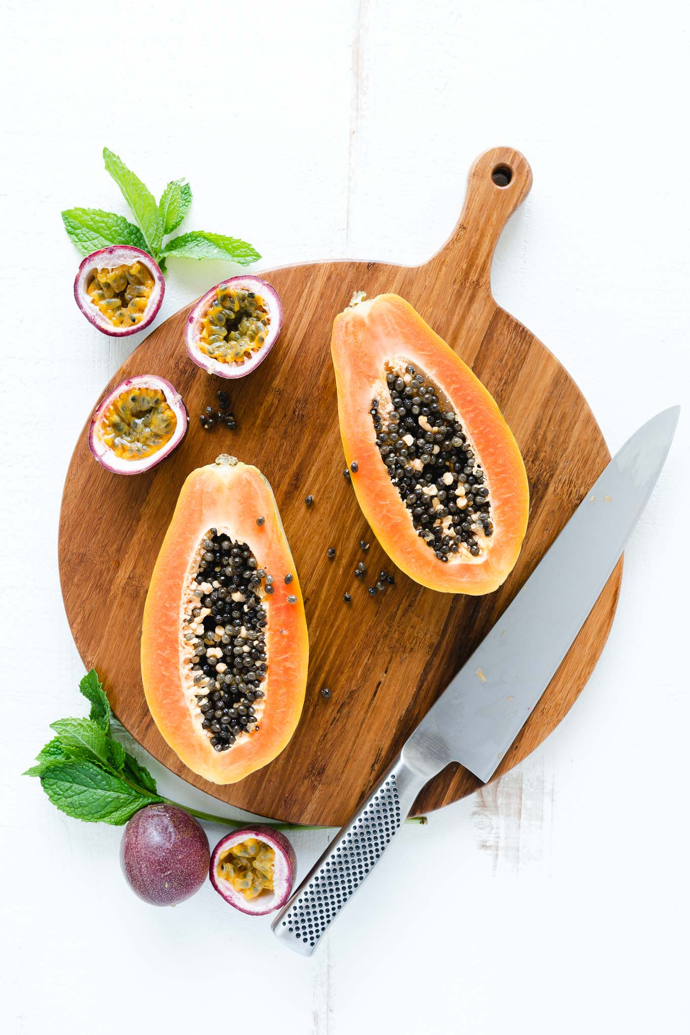 Tropical Papaya Bowls - Papaya Cut in Half with Passion Fruit