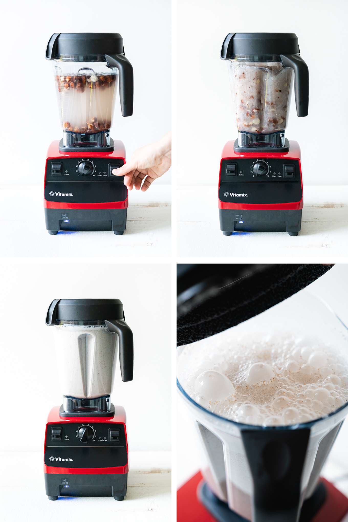 Four stages of blending nut milk, three blender images and one open blender image