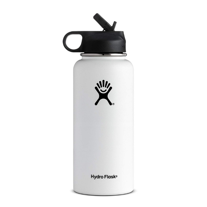 White and black Hydro Flask Water Bottle