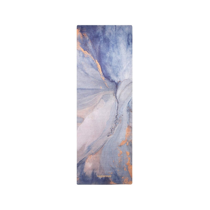 blue and rose gold patterned yoga mat by Sugar Mat