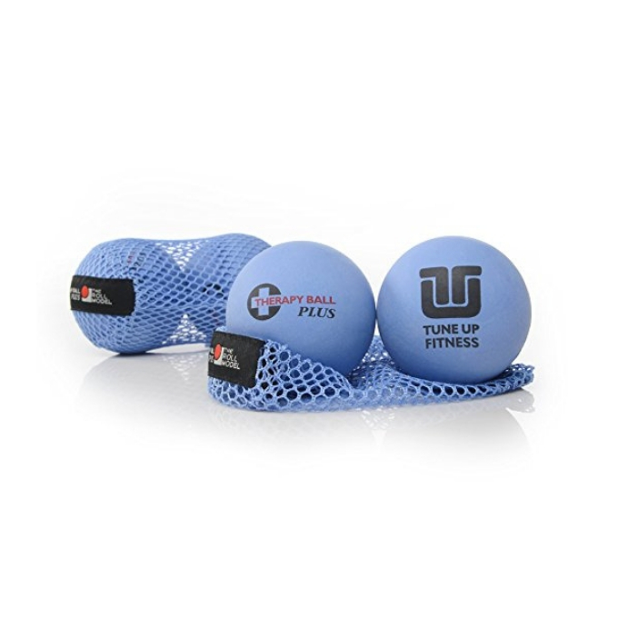 Yoga Tune Up Balls shown with blue mesh travel bag