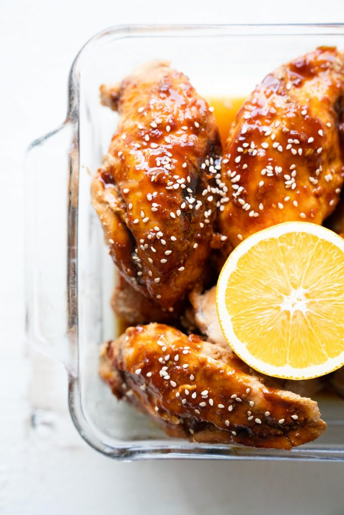 Chicken Teriyaki with lemon and sesame seeds