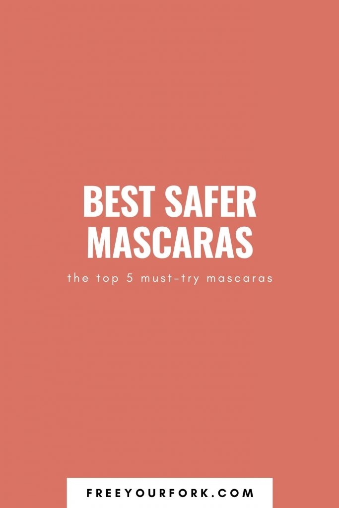 white text graphic that reads best safer mascaras on orange background