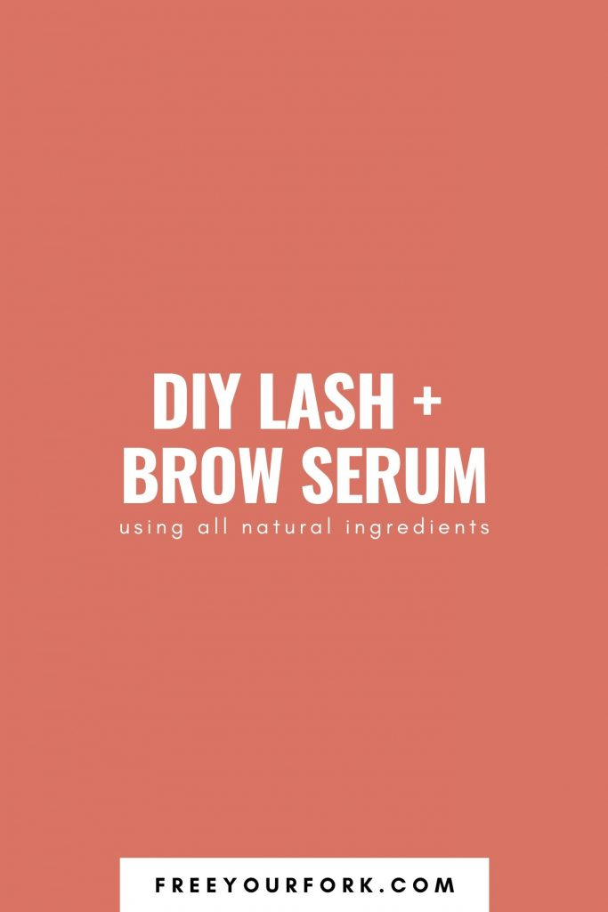 diy lash and brow serum white text on orange background