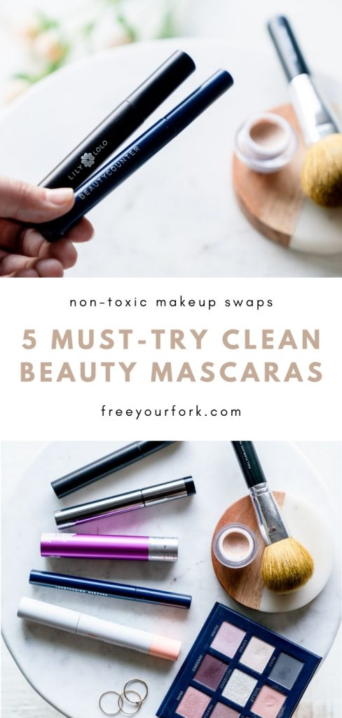 5 must try clean beauty mascaras long pinterest image with brown text